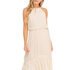 All In Favor Halter Maxi Dress Cream Size L